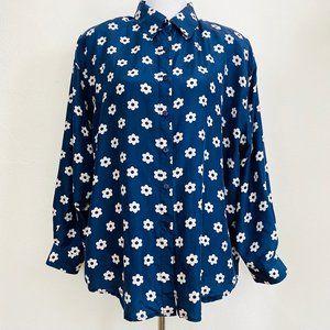 Vintage 80s Style Floral Silk Plus Size Blouse